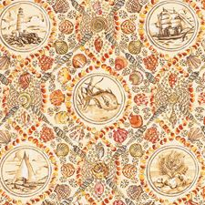 Coral Animal Drapery and Upholstery Fabric by Vervain