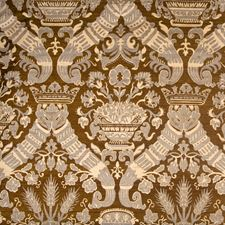Chocolate Damask Drapery and Upholstery Fabric by Vervain