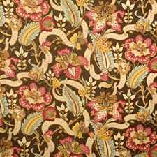 Cocoa Floral Drapery and Upholstery Fabric by Vervain