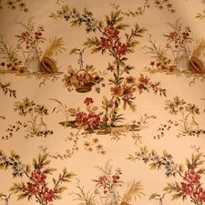 Red Floral Drapery and Upholstery Fabric by Vervain