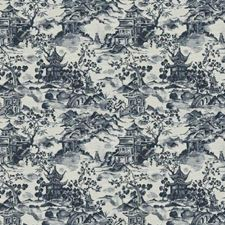 Navy Asian Drapery and Upholstery Fabric by Trend