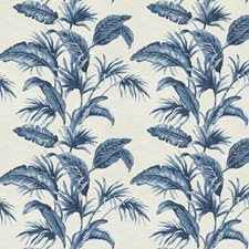 Cobalt Leaves Drapery and Upholstery Fabric by Trend