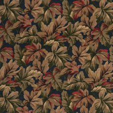 Indigo Botanical Foliage Drapery and Upholstery Fabric by RM Coco