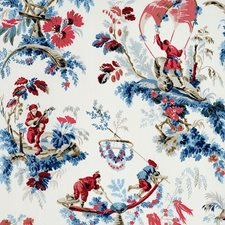 Bleu/Rouge Drapery and Upholstery Fabric by Schumacher