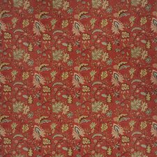 Rural Red Floral Drapery and Upholstery Fabric by Fabricut