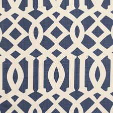 Ivory/Navy Drapery and Upholstery Fabric by Schumacher