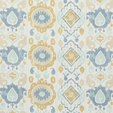 Sky/amp/Ochre Drapery and Upholstery Fabric by Schumacher