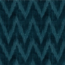 Indigo Flamestitch Drapery and Upholstery Fabric by Lee Jofa