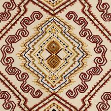 Red/Gold Ethnic Drapery and Upholstery Fabric by Lee Jofa