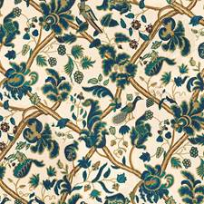 Navy/Grape Jacobeans Drapery and Upholstery Fabric by Lee Jofa