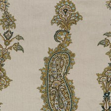 Teal/Olive Embroidery Drapery and Upholstery Fabric by Lee Jofa