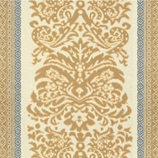 Beige/Blue Damask Drapery and Upholstery Fabric by Lee Jofa