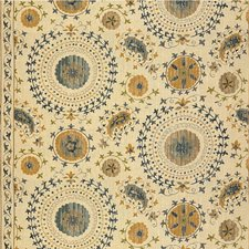 Blue/Taupe Medallion Drapery and Upholstery Fabric by Lee Jofa