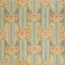 Blue/Orange Botanical Drapery and Upholstery Fabric by Lee Jofa