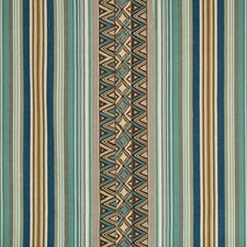 Teal/Brown Ethnic Drapery and Upholstery Fabric by Lee Jofa