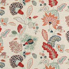 Mint/red Drapery and Upholstery Fabric by Duralee