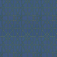 Teal Royal Geometric Drapery and Upholstery Fabric by S. Harris
