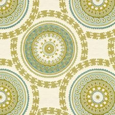 White/Blue/Green Ethnic Drapery and Upholstery Fabric by Kravet