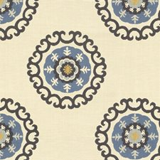 Beige/Blue/Yellow Ethnic Drapery and Upholstery Fabric by Kravet