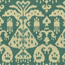 White/Blue/Green Ikat Drapery and Upholstery Fabric by Kravet