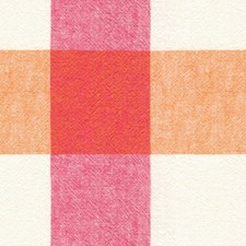 Orange/White/Pink Check Drapery and Upholstery Fabric by Kravet