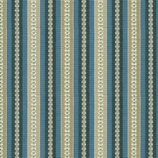 Beige/Indigo/Turquoise Stripes Drapery and Upholstery Fabric by Kravet
