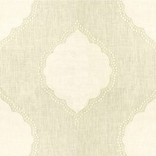 Ivory/White Medallion Drapery and Upholstery Fabric by Kravet