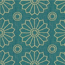 Teal Geometric Drapery and Upholstery Fabric by Kravet