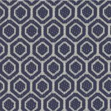 Ivory/Indigo Geometric Drapery and Upholstery Fabric by Kravet