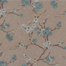 Teal/Brown/Beige Botanical Drapery and Upholstery Fabric by Kravet