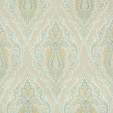 Turquoise/Ivory/Camel Damask Drapery and Upholstery Fabric by Kravet