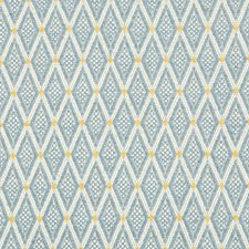 Blue/White/Yellow Diamond Drapery and Upholstery Fabric by Kravet