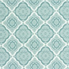 White/Turquoise Medallion Drapery and Upholstery Fabric by Kravet