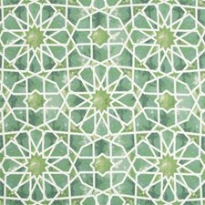 Green/Teal/White Ethnic Drapery and Upholstery Fabric by Kravet