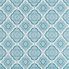 Teal/Ivory Medallion Drapery and Upholstery Fabric by Kravet