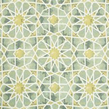 Green/Celery/White Ethnic Drapery and Upholstery Fabric by Kravet