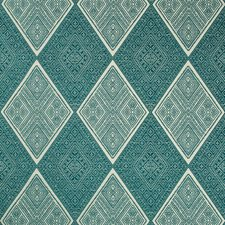 Beige/Teal/Green Diamond Drapery and Upholstery Fabric by Kravet