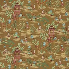 Bronze Garden Asian Drapery and Upholstery Fabric by Stroheim