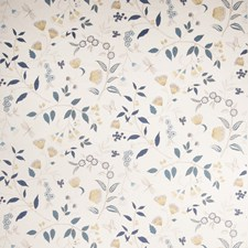 Santorine Blue Floral Drapery and Upholstery Fabric by Vervain