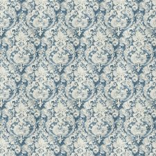 Blue Damask Drapery and Upholstery Fabric by Vervain