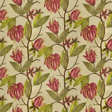 Cerise Floral Drapery and Upholstery Fabric by Vervain