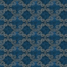 Navy Jacquard Pattern Drapery and Upholstery Fabric by Fabricut