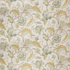 Aqua Citrine Floral Drapery and Upholstery Fabric by Fabricut