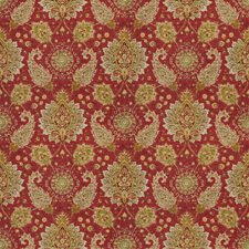 Exotic Red Floral Drapery and Upholstery Fabric by Fabricut