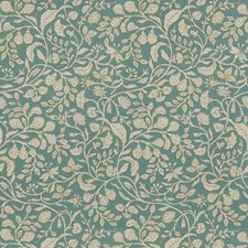 Turquoise Floral Drapery and Upholstery Fabric by Fabricut