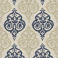 Navy Tan Damask Drapery and Upholstery Fabric by Trend