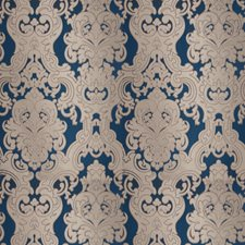Navy Silver Damask Drapery and Upholstery Fabric by Fabricut
