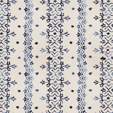 Indigo Embroidery Drapery and Upholstery Fabric by Vervain