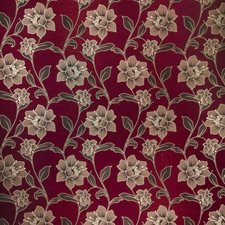 Claret Floral Drapery and Upholstery Fabric by Trend