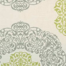 Natural/Green Medallion Drapery and Upholstery Fabric by B. Berger